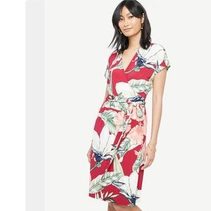NWT Ann Taylor Palm Leaf Wrap Dress Size 12